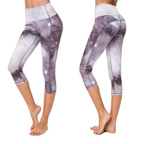 Munvot Yoga Leggings Damen mit Taschen Sporthose Yogahose Tights Fitnesshose Sport Leggings für Damen - Erde(3/4)/XS(DE34-36)