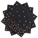 Aneco Lot de 120 serviettes en papier à pois dorés avec 2 couches, idéal pour les...