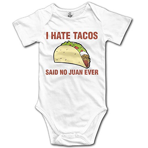 Hate Tacos Said No Juan Ever Boy's & Girl's Short Sleeve Romper Bodysuit Outfits White