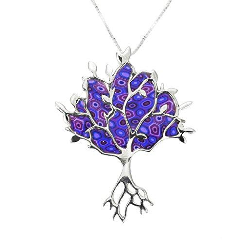 Pendentif Arbre de Vie - Bijoux Symbolique - Collier de designer très travaillé - Cadeau original pour elle Violet