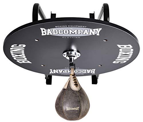 Profi Speedball Plattform Set inkl. Drehkugellagerung schwarz und Rindsleder Boxbirne med. braun/Boxapparat für die Wandmontage (Plattform-box)