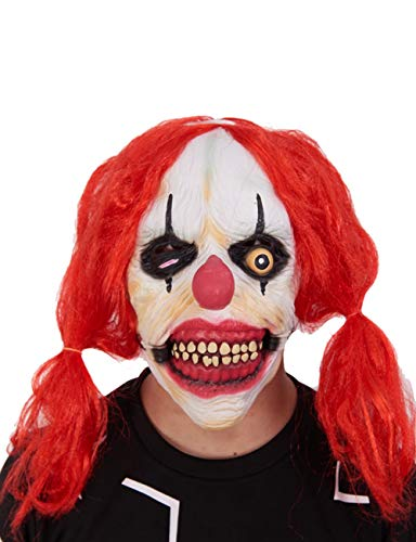 Halloween Maske Red Big Dice Clown Maske Horror Ghost Lustige Latex Kopf ()