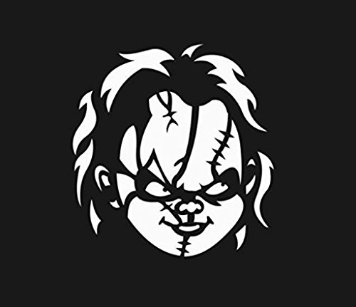 SUPERSTICKI® Chucky Face Vinyl Cut Aufkleber Decal Hintergrund/Maße in Inch Sticker | Horror Halloween Scary Funny | Cars Trucks Vans Walls Laptop | White | 5.5 In Tall | CCI258