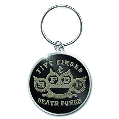 Five Finger Death Punch Brass Knuckle logo Nue metal Schlüsselring Keychain -