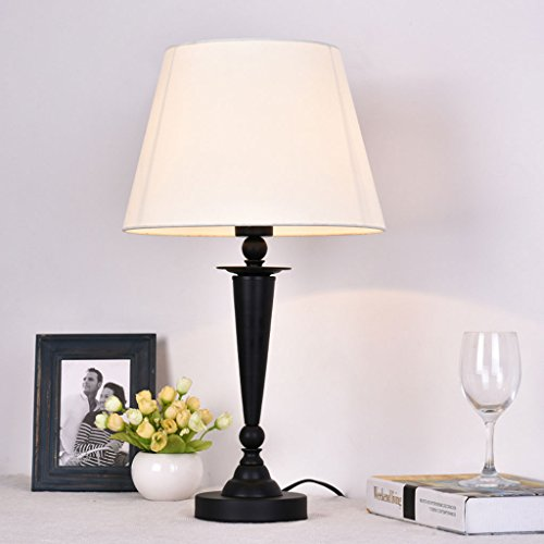 LOVELY LIGHT Moderne einfache Nachttisch Lampen Tuch Lampenschirm Lampe Augenpflege Eisen Romantische Wohnzimmer Tischlampe, 54 * 30CM (Größe : Push button switch)