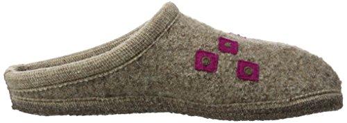 Haflinger Unisex-Erwachsene Walktoffel Geo Pantoffeln Beige (Beigemeliert Öko)