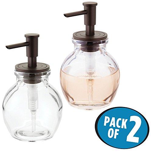 mDesign distributeur de savon rechargeable (lot de 2) - petit pousse mousse en verre et plastique - pompe à savon de 400 mL pour cuisine ou salle de bain - transparent/noir mat