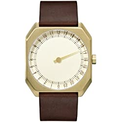 slow Jo 18 - Dark Brown Vintage Leather Gold Case Gold Dial Unisex Quartz Watch with Gold Dial Analogue Display and Dark Brown Leather Strap