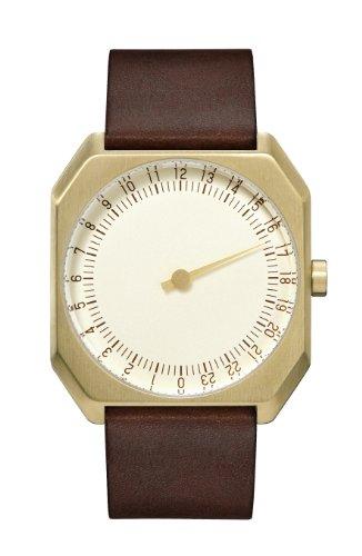slow Jo 18 - Schweizer unisex Einzeigerarmbanduhr analoge 24 Stundenanzeige Leder gold/dunkelbraun