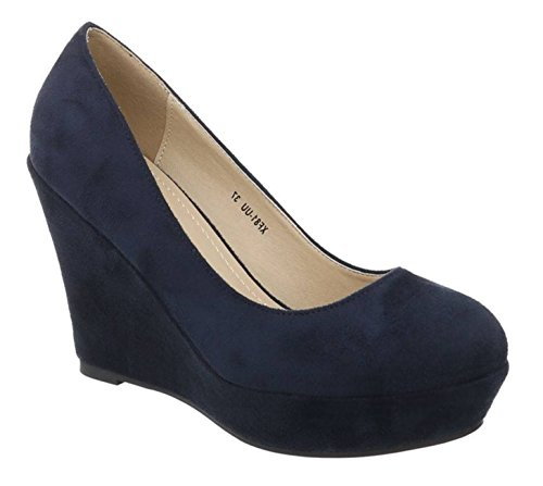 Damen Mary Jane Keil Pumps Plateau High Heels Wedges Keilabsatz F8 (41, Rot)