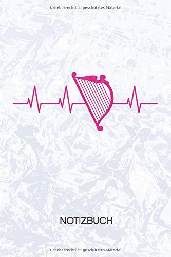 NOTIZBUCH: A5 Kariert - Harfenspieler Heft - Instrumente Notizheft 120 Seiten KARO - Zupfinstrument Notizblock Heartbeat Harfenist Motiv - Instrumentalist Geschenk