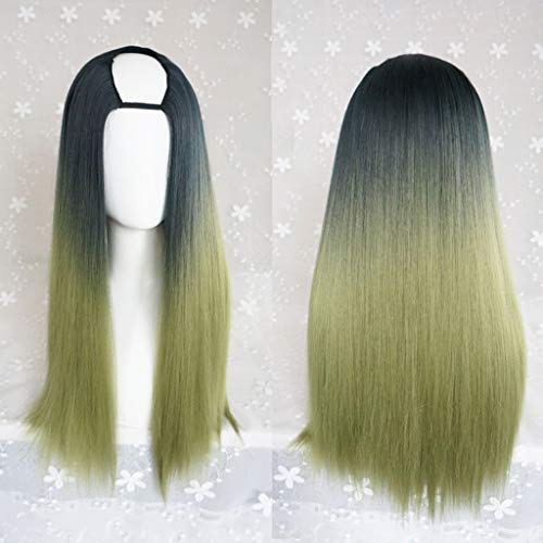 LNNA Lolita Harajuku Lange Seide Fluffy U-förmige Perücken Hitzebeständige Synthetische Faser Ombre Gradient Dunkle Wurzeln Haar Für Cosplay 26 zoll / 66 cm (Farbe : ()