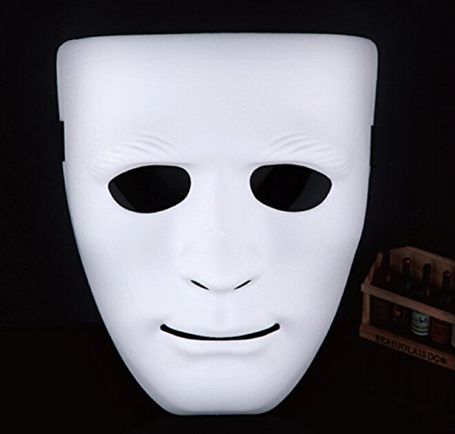 Zantec Full Face Plastic Plain Maske Kostüm Party Dance Crew für Hip Hop Dance / Oper (Thick White)