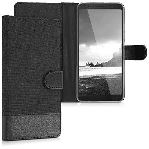 kwmobile Alcatel 3C Hülle - Kunstleder Wallet Case für Alcatel 3C mit Kartenfächern und Stand