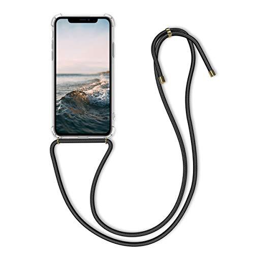 kwmobile Apple iPhone 11 Hülle - mit Kordel zum Umhängen - Silikon Handy Schutzhülle - Transparent Schwarz