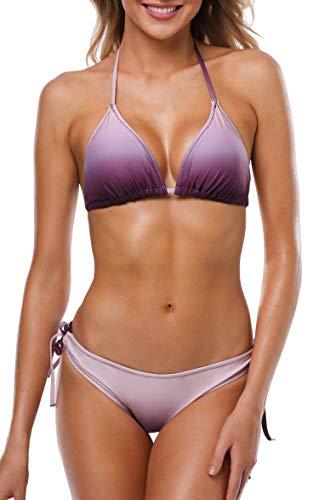 Anwell Bikini Damen Set Push Up Triangel Bikini Damen Set Bandeau Neckholder Lila L - Lila Neckholder-bikini