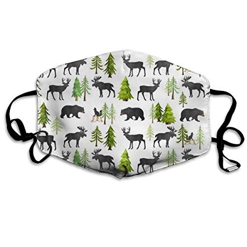 TINY Home In The Forest - Woodland Animals Bear Moose Deer Pine Trees Baby Nursery Bedding GingerLous Anti Dust Mask Anti Pollution Washable Reusable Mouth Masks