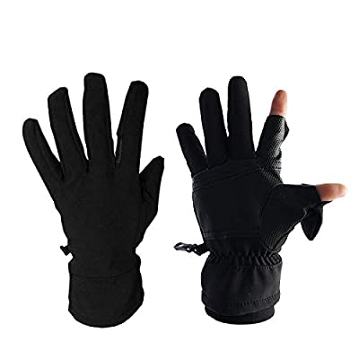 Convertible Mittens for Men and Women 2 Cut Fingers Flexible Great for Photography Fly Fishing Ice Fishing Running Touchscreen Texting Shooting Hiking,Safety Protection