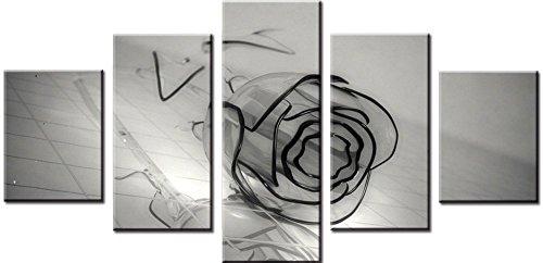 Wowdecor Bilder 5 Teilig Leinwand Malerei Drucke - Grau Transparente Rose Blume Giclee Home Wohnzimmer Schlafzimmer Modern Wand Bild Deko, Poster Geschenk gedruckt - Ungerahmt (klein) -