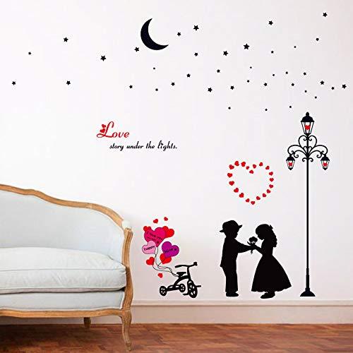 Histoire d'amour sous les lumières Cartoon Home Decor Stickers Muraux Lving Room Chambre Couple Chambres Décoration Art Stickers
