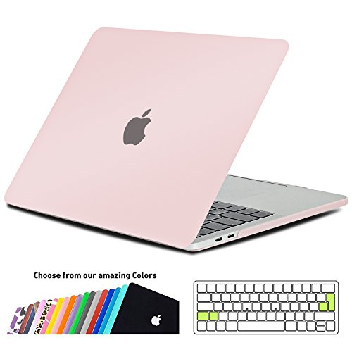 MacBook Pro 13 Hülle 2016 Touch Bar, iNeseon Ultra Slim Plastik Hartschale Tasche Case Cover snap on Schutzhülle Schale mit US Rose Quartz und EU Transparent Silikon Tastatur-Abdeckung Schutzhülle für Neueste Apple MacBook Pro 13 Zoll mit Touch Bar A1706, Rose Quartz (- Tastatur-abdeckung Macbook Air 13inch)