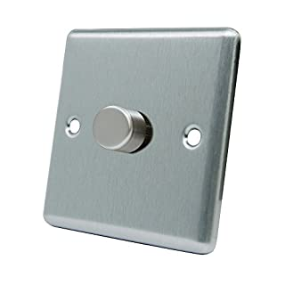 AET CSC1GDIM40 Satin Chrome Classical 400W-10 Amp Single 1 Gang 2 Way 400W Light Dimmer Switch