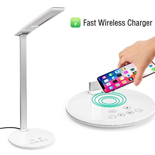 Lampe de Chevet & Chargeur Sans Fil,Lampe de Bureau LED avec Touch Control Lampes de Table Bras en Aluminium Port Lampe Tactile 4 Modes et 5 Niveaux Lampe de Lecture Luminosité Réglable
