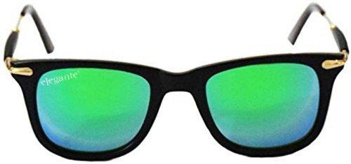 Elegante\' Superior Rubber Temple Aqua Green Mirrored Wayfarer Sunglasses for Women and Men (Model : elt-2448/M)