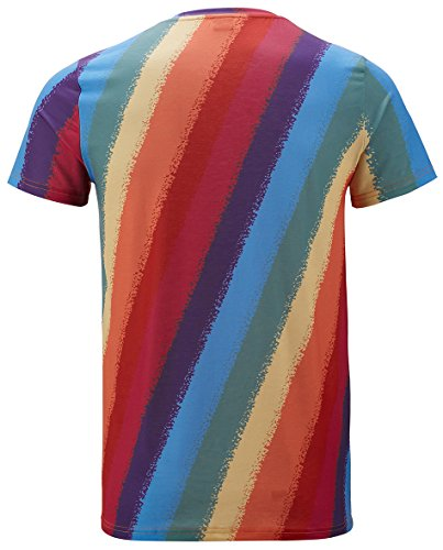 Funny World Herren Retro Regenbogen T-Shirts arc en ciel