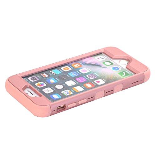 """iPhone 7 Hülle,Lantier Eleganter Luxus verzierte Bling Strass Design 3 Stück Art Dual Layer Hybrid Stoß harten Autoschutzhülle für iPhone 7 4.7"""" 2016 Schwarz+Pink Cute Rhinestone Rose Gold+Pink"""