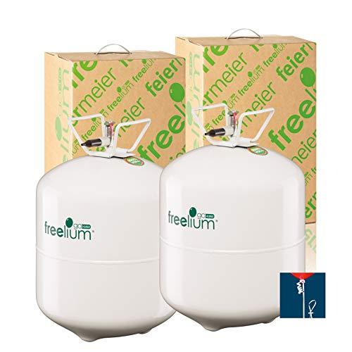 freelium® go 410 Helium Ballongas Doppelpack für Luftballons: 840 Liter in der leichten to Go Flasche + 100x Ballonband mit Schnellverschluss gratis! TÜV Rheinland