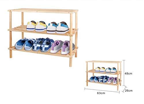Scarpiera legno in legno naturale mobile salvaspazio piccola anche per armadio a forma di panca fai da de (3 piani)