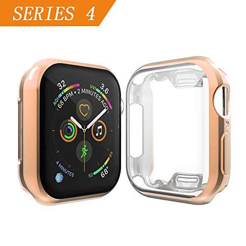 Cerike kompatibler Apple Watch Series 4 Displayschutz, Soft Slim FullAround Protective iWatch 4 Schutzhülle für Apple Watch Series 4 Smartwatch (40MM, Rose Pink)