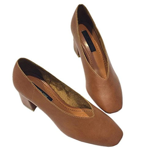 rugueux décontracté avec tête carrée de la bouche peu profonde avec des chaussures basses en cuir chaussures simples en cuir souple confortable yellow brown