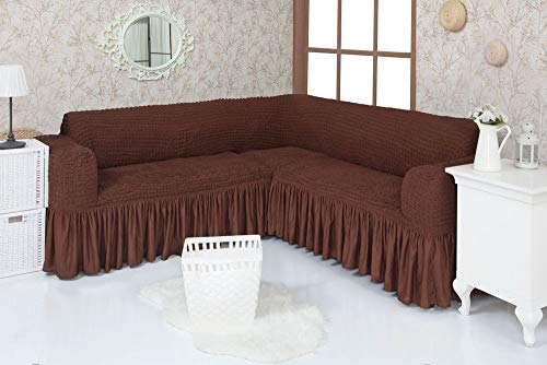 Mixibaby Eck Sofabezug Sofahusse Sesselbezug Sitzbezug Sesselüberwurf Stretchhusse Sofahusse, Farbe:braun