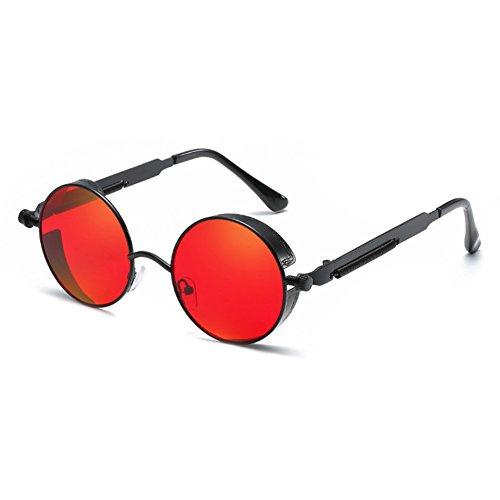 Juleya Gothic Steampunk Runde Metall Sonnenbrille für Männer Frauen Gespiegelte Kreis Retro Vintage Brillen UV400 C6 (Steampunk Metall-brille)