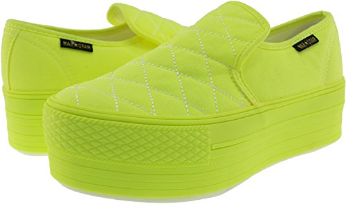Maxstar C50 basse-dessus de la plate-forme antidérapante Ons Baskets chaussures Vert - All-Neon Green