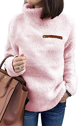 KISSMODA Damen Langarmshirts Weiche Fleecejacke Mantel Pink Small