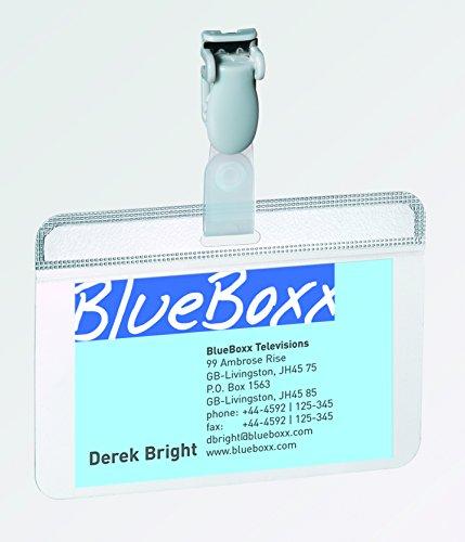 Portabadge in PVC con clip in plastica Durable autolaminante 5,4x9 cm 8149-19 conf.25