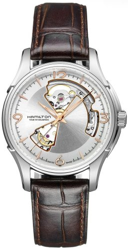 Hamilton Men's Jazzmaster Open Heart 40mm Brown Leather Band Steel Case Automatic Analog Watch H32565555