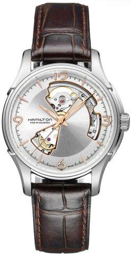 Hamilton Herren Analog Automatik Smart Watch Armbanduhr mit Leder Armband H32565555
