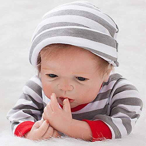 Unexceptionable-Dolls Reborn Doll Baby Boy 22 Zoll Silikon-Neugeborenen lebensechte handgemachte Kind sicher ungiftig Eltern-Kind-Interaktion Kinder Jungen / Mädchen Spielzeug Geburtstag, grau (Doll Mädchen Silicone Baby)
