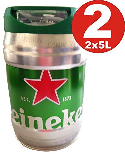2 x 5 LITER HEINEKEN BIERFASS MIT ZAPFHAHN Draught Keg 5% -