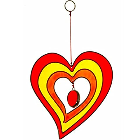 Colourful Heart Shaped Hanging Suncatcher Handcrafted Home and Garden Ornament (Red/Yellow) - Ornamento Suncatcher