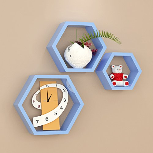 3 griglie esagonali mensole blu, in legno, soggiorno tv parete decorativo montaggio a parete montaggio a parete (30 cm, 24 cm, 16 cm)