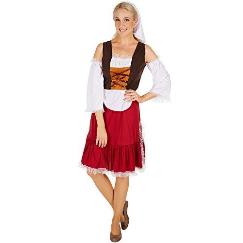 Schürze Stil Kleid (TecTake dressforfun Frauenkostüm Mittelalter Magd | Wundervolles, langes Kleid im Mittelalter-Stil | Unterteil mit angenähter Schürze | Inkl. schöner Kopfbedeckung (L | Nr. 301192))