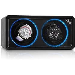 Klarstein 8LED2S Design Uhrenbeweger für 2 Uhren (Drehtribüne mit blauen LED-Lichteffekt, 4 Rotationsmodi, Sichtfenster, flüsterleise) schwarz