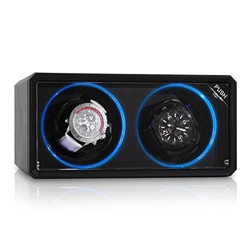Klarstein 8LED2S carica orologi automatici (per 2 orologi, 4 programmi di rotazione, vetrina trasparente, 2 modalità di rotazione, motore silenzioso, dimensioni ridotte) - nero