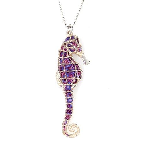 Collier Pendentif Hippocampe - Bijoux fait main en Argent fin Plaqué Or et Fimo, Chaine en Or Laminé 42cm Violet