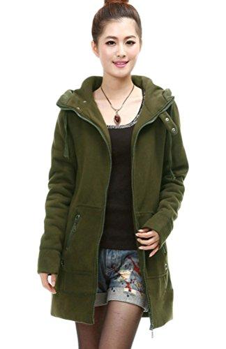 Voguees Damen Winter Mit Kapuze Vliese Mantel Sweatshirt Mit Taschen Grün